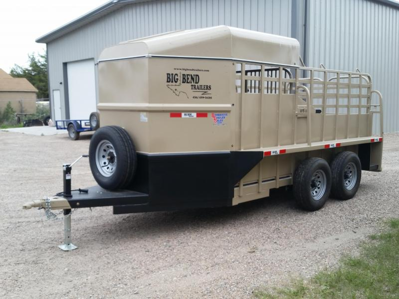 2019 Big Bend 16' BH HALF TOP Livestock Trailer