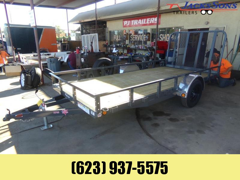 2020 PJ Trailers 14 X 77 UTV / UTILITY RAMP GATE GRAY Utility Trailer