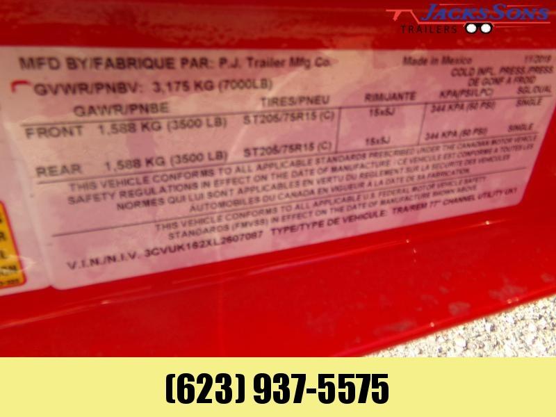 2020 PJ Trailers 77 X 16 UTV / UTILITY RAMP GATE RED POWDER COAT Utility Trailer