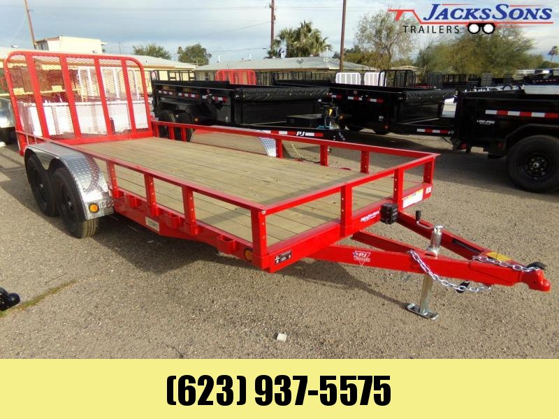 2020 PJ Trailers 77 X 16 UTV / UTILITY RAMP GATE RED POWDER COAT Utility Trailer