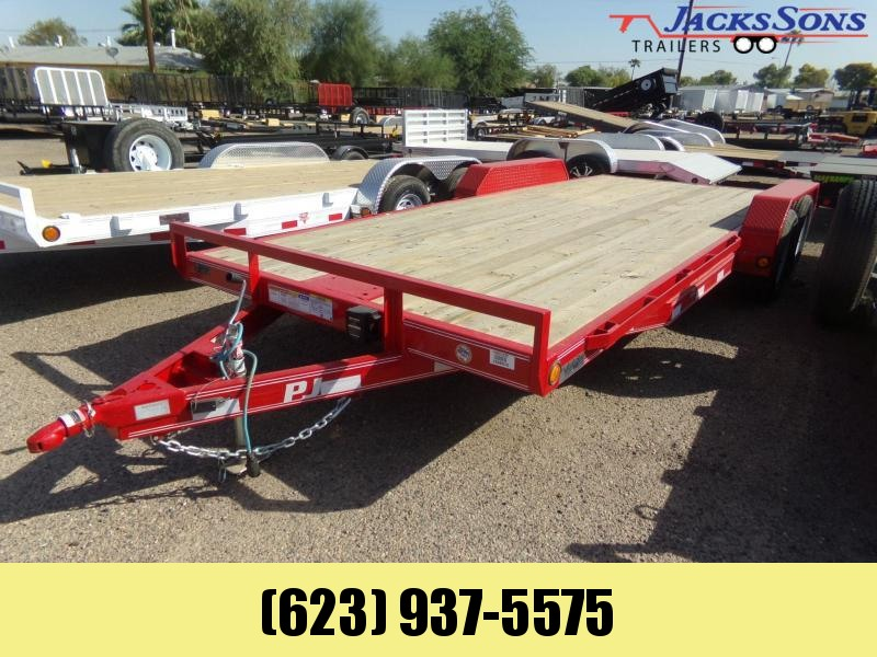 2019 PJ Trailers 20 FTCAR HAULER RED POWDER COAT W/ WINCH PLATE Car / Racing Trailer