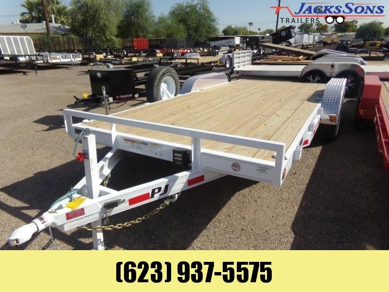 2019 PJ Trailers 18 FT 10K CAR HAULER WHITE POWDERCOAT Car / Racing Trailer