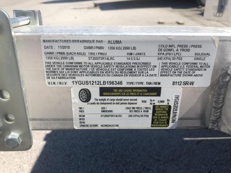 2020 Aluma 8112SRW Utility Trailer