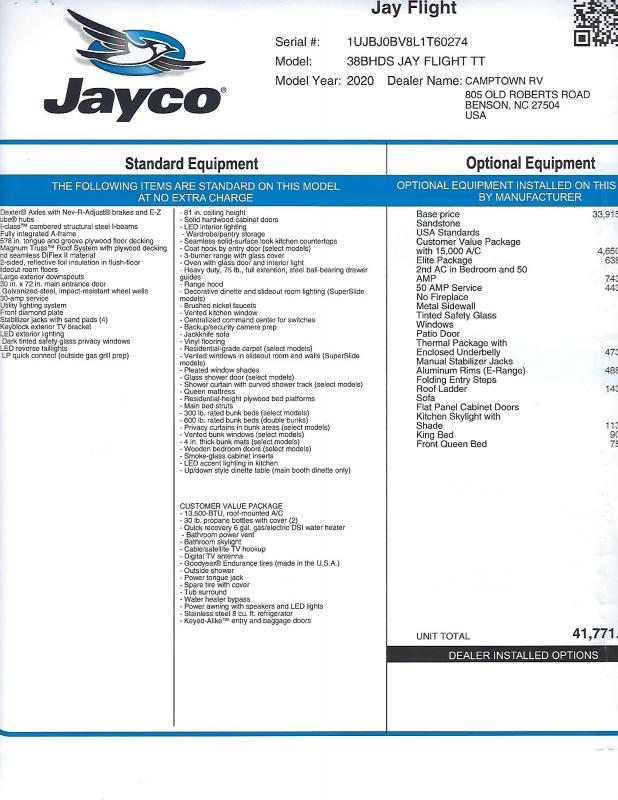 2020 Jayco Jay Flight 38BHDS Travel Trailer RV