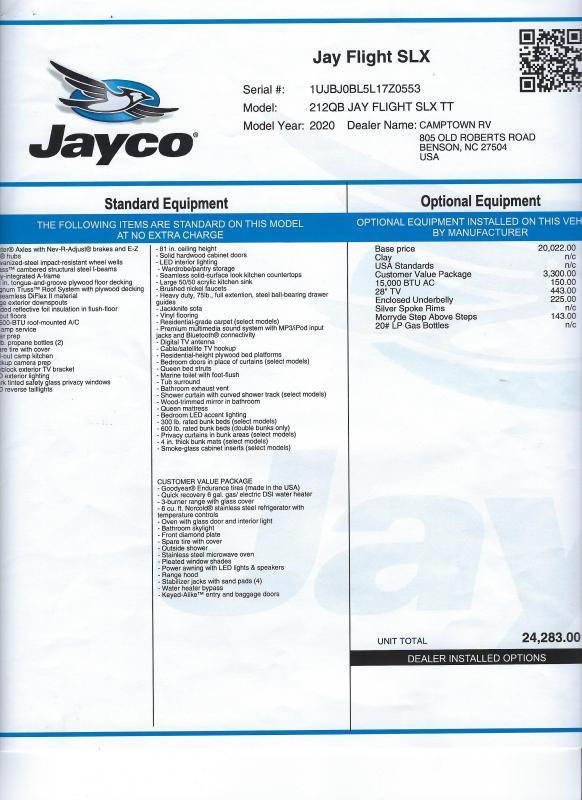 2020 Jayco Jay Flight SLX 212QB Travel Trailer RV