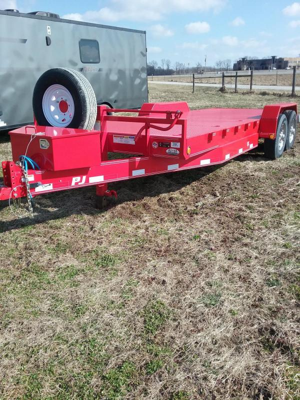 2019 PJ 20'-14K EQUIPMENT TRAILER WITH 3.5' DOVETAIL-TWO MONSTER RAMPS- STEEL DECK- 12 HEAVY DUTY D RINGS- FORK POCKETS