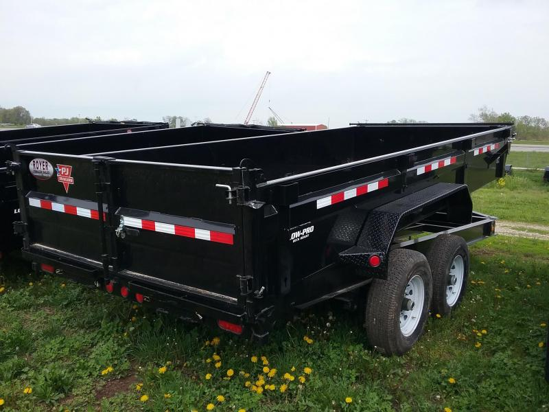 7x16-14K PJ Dump Trailer with Split Spread Gate-Spare Tire Mount and Tarp