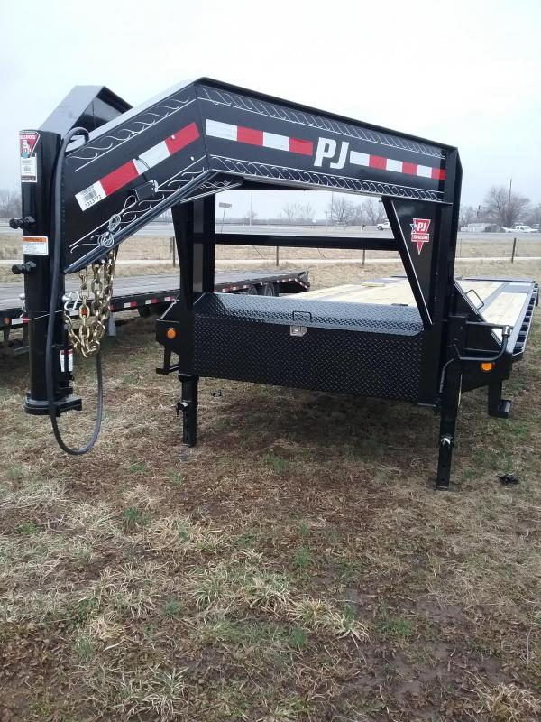 30' PJ Gooseneck with Moster Ramps and 14 Ply Tires 15680 GVWR