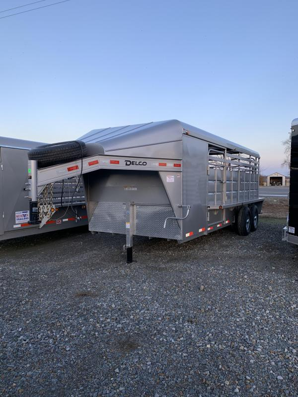 2020 Delco Trailers 20x6.8 Metal Top Stock with Tack Room Livestock Trailer