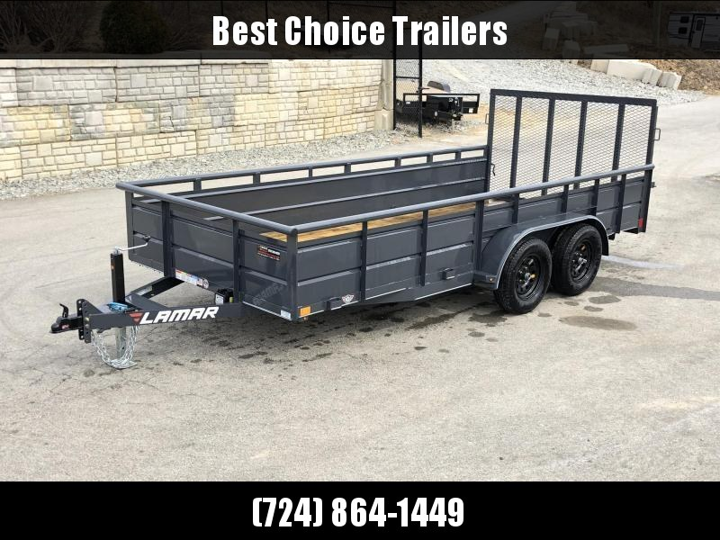 2019 Lamar 7x16' Utility Trailer 7000# GVW * 2' STEEL HIGH SIDES *  CHARCOAL * PIPE TOP * ADJUSTABLE COUPLER * DROP LEG JACK * TIE DOWN RAIL * TUBE GATE * CLEARANCE