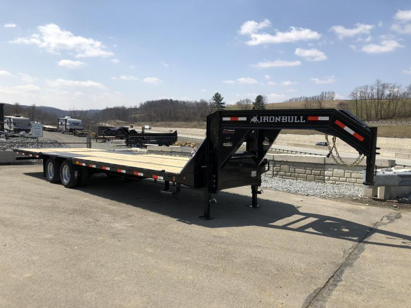 2019 Ironbull 102x32' Gooseneck Deckover Flatbed Hydraulic Dovetail 22000# GVW * BLACKWOOD TAIL * I-BEAM FRAME * RUBRAIL/STAKE POCKETS/PIPE SPOOLS/D-RINGS * DUAL JACKS * FULL TOOLBOX * DEXTER'S