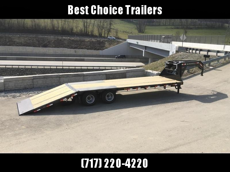 2019 Ironbull 102x32' Gooseneck Deckover Flatbed Hydraulic Dovetail 22000# GVW * BLACKWOOD TAIL * I-BEAM FRAME * RUBRAIL/STAKE POCKETS/PIPE SPOOLS/D-RINGS * DUAL JACKS * FULL TOOLBOX * DEXTER'S * CLEARANCE