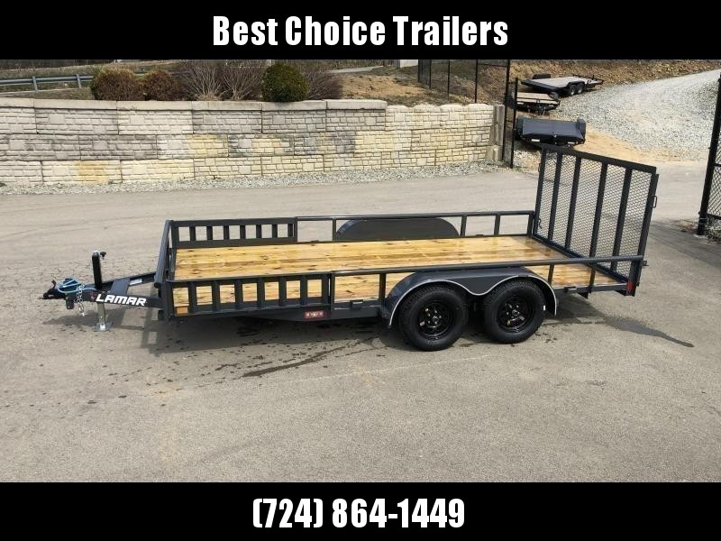 "2020 Lamar 7x16' ATV Utility Trailer 7000# GVW * ATV SIDE RAMPS * CHARCOAL * PIPE TOP RAIL * ADJUSTABLE COUPLER * DROP LEG JACK * 2x2"" TUBE GATE W/ SPRING ASSIST * COLD WEATHER HARNESS * 4"" CHANNEL TONGUE * STAKE POCKETS * TEARDROP FENDERS * BULLET LED'S"