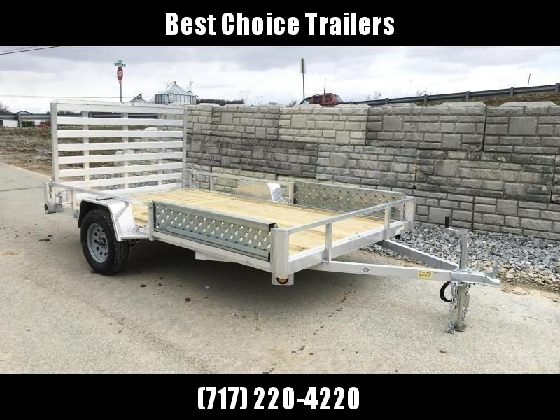 """2020 QSA 7x12' Aluminum ATV Utility Landscape Trailer 2990# GVW * ATV RAMPS * STANDARD MODEL * TUBE FRAME AND TONGUE * SPARE MOUNT * TIE DOWNS * 4' FOLD IN GATE * LED'S * FENDER GUSSETS * 3500# AXLE * 15"""" TIRES * TUBE TOP RAIL"""