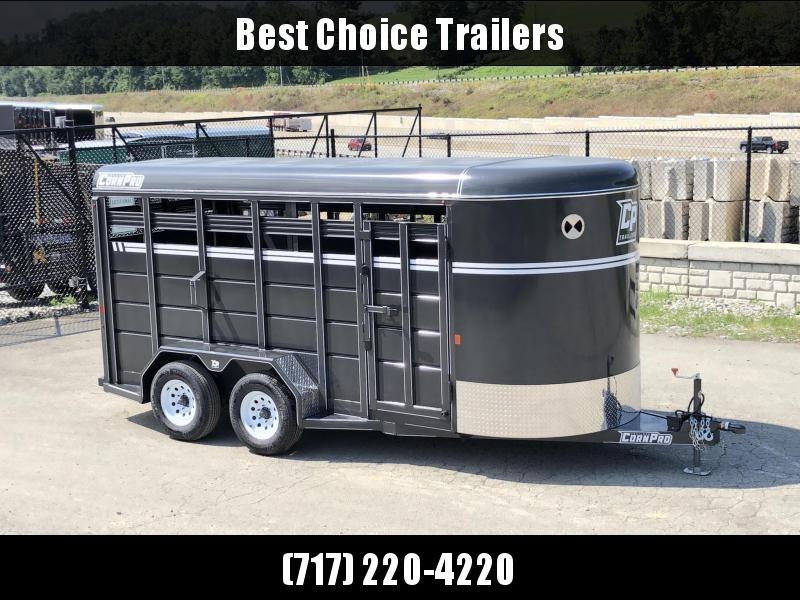 2019 Corn Pro 16' Livestock Trailer 7000# GVW * GREY * TORSION