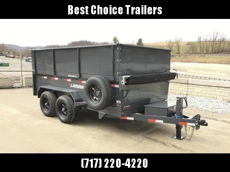 2019 Lamar DM10 77x12' 9990# Low Profile Dump Trailer 4' HIGH SIDES * 12K JACK * TARP KIT  * ADJUSTABLE COUPLER * CHARCOAL * SPARE TIRE & MOUNT