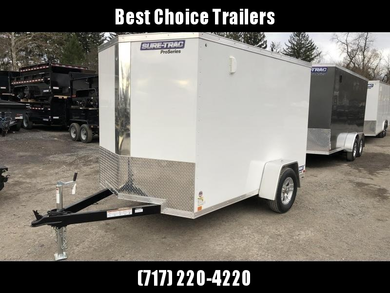 "2020 Sure-Trac 6x12' Pro Series Enclosed Cargo Trailer 2990# GVW * WHITE EXTERIOR * V-NOSE * RAMP * TORSION * BACKUP LIGHTS * .030 SCREWLESS EXTERIOR * ALUMINUM WHEELS * 1 PC ROOF * 4"" TUBE FRAME * 16"" O.C. WALLS * PLYWOOD * TUBE STUDS * CEILING LINER * R"