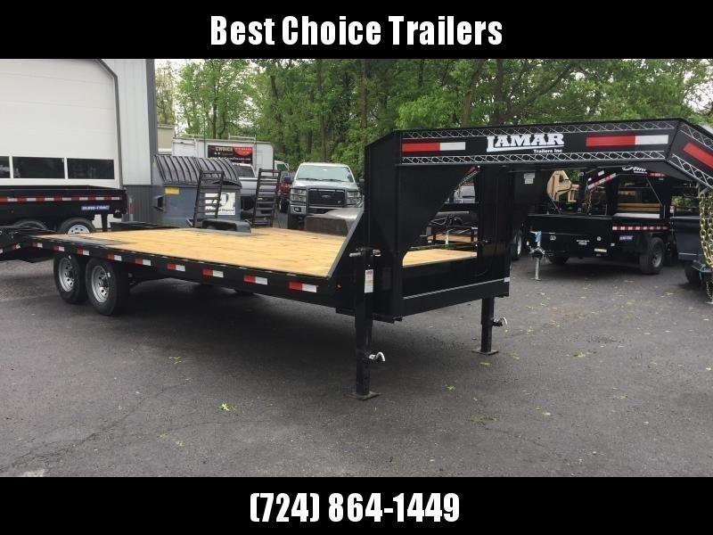 2018 Lamar 102x19+5' Gooseneck Beavertail Deckover Trailer 14000# GVW * CHARCOAL POWDERCOAT * FLIPOVER RAMPS * CLEARANCE