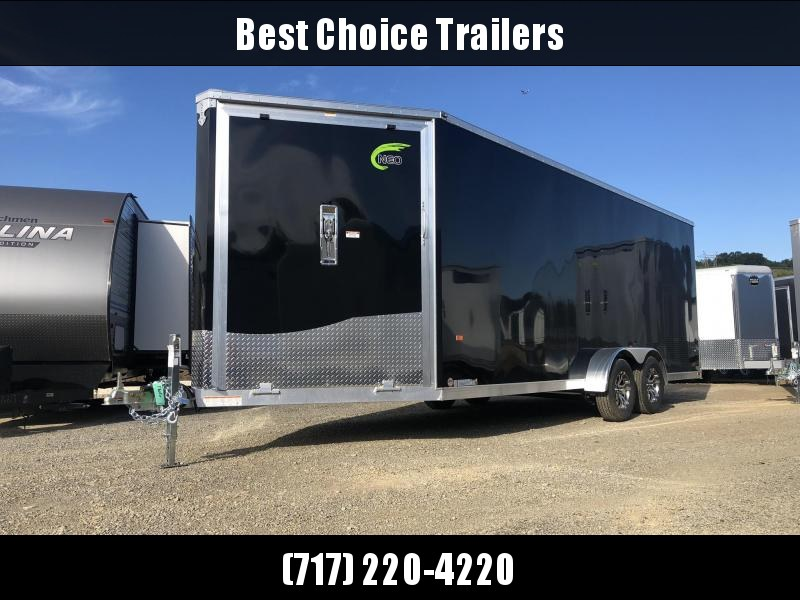 "2020 Neo 7x24' NASF Aluminum Enclosed All-Sport Trailer 7000# GVW * 7' HEIGHT UTV PKG * BLACK EXTERIOR * FRONT/REAR NXP RAMP * VINYL WALLS * SPORT TIE DOWN SYSTEM * 16"" O.C. FLOOR * PRO STAB JACKS * UPPER CABINET * ALUMINUM WHEELS * SCREWLESS * 1 PC ROOF"