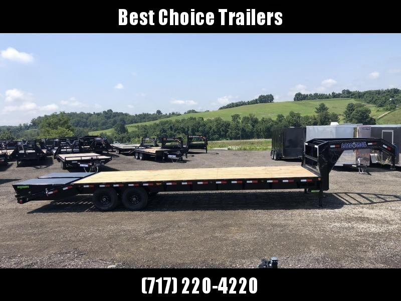 "2019 Load Trail 102x25' Gooseneck Beavertail Deckover Trailer 14000# GVW * FULL WIDTH RAMPS (STAND UP OR FLIPOVER) * 12"" I-BEAM FRAME * FRONT TOOLBOX * DUAL JACKS * PRIMER * DEXTER AXLES * 16"" O.C. C/M * RUBRAIL/STAKE POCKETS/PIPE SPOOLS * CLEARANCE"