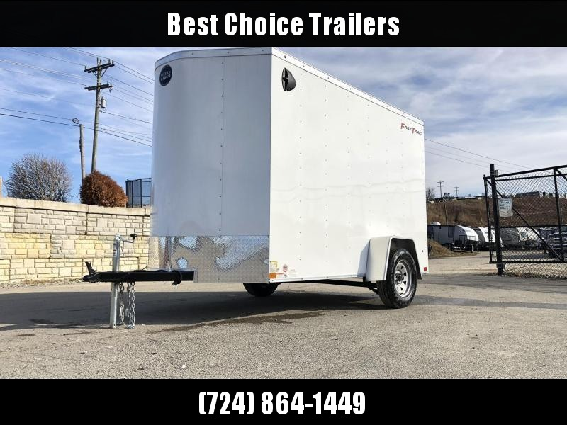 """2020 Wells Cargo 6x10' Fastrac DELUXE Enclosed Cargo Trailer 2990# GVW * WHITE EXTERIOR * RAMP DOOR * V-NOSE * .030 EXTERIOR * 6'6"""" HEIGHT * TUBE STUDS * 3/8"""" WALLS * 1 PC ROOF * 16"""" O.C. WALLS * BULLET LED'S"""