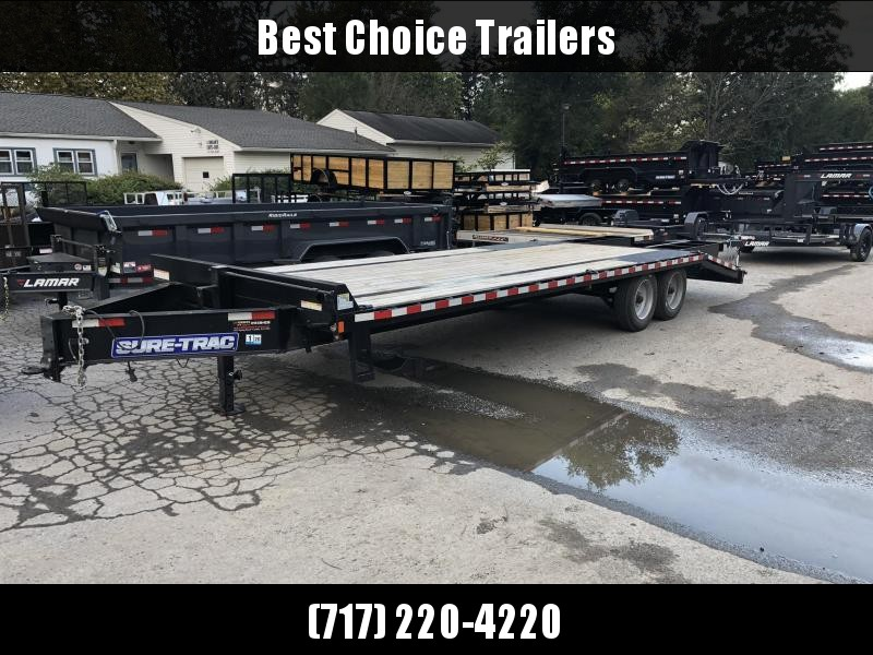 """USED 2019 Sure-Trac 102""""x20+5' LowPro Deckover Trailer 17600# GVW * 8000# AXLES * PIERCED FRAME * CLEARANCE"""