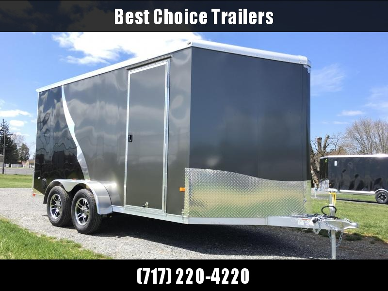 2018 Neo 7x14 NAMR Aluminum Enclosed Motorcycle Trailer * BLACK AND PEWTER * DRT SPOILER * LOAD LIGHTS * EXTRA HEIGHT * ALUMINUM WHEELS
