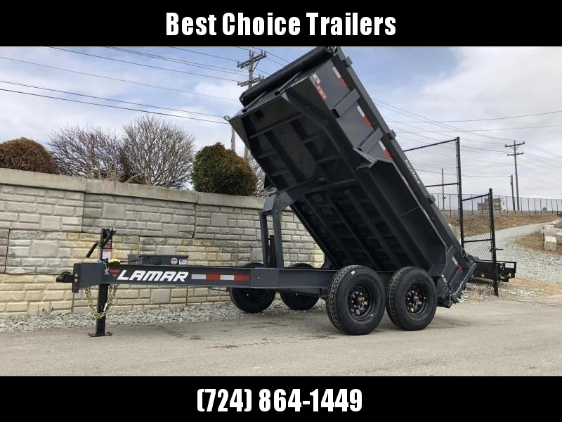 "2020 Lamar 7x12' Deluxe Dump Trailer 14000# GVW * 14-PLY RUBBER * OIL BATH * REAR JACKSTANDS * 7GA FLOOR * TARP KIT * SCISSOR HOIST * 12K JACK * CHARCOAL * RIGID RAILS * HD COUPLER * NESTLED I-BEAM FRAME 28"" H * 3-WAY GATE * 12"" O.C. C/M"