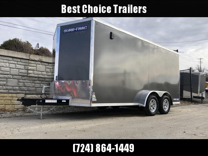 "2020 Sure-Trac 7x16' Enclosed Cargo Trailer 7000# GVW * WHITE * SCREWLESS * ALUM WHEELS * 1PC ROOF * 6'6"" H * 6"" FRAME"