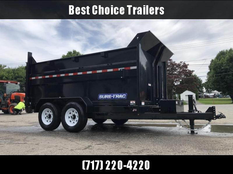 2020 Sure-Trac 7x14' Low Profile Dump Trailer 14000# * 4' HIGH SIDES + BULKHEAD * TELESCOPIC HOIST * 12K JACK * 14000# GVW