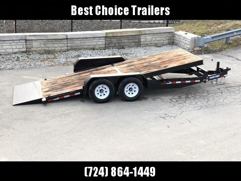 2019 Sure-Trac 7x18' Gravity Tilt Equipment Trailer 9900# GVW * OAK DECK UPGRADE IMPROVES TRACTION & DURABILITY * DROP AXLES/LOW LOAD ANGLE * RUBRAIL/STAKE POCKETS/D-RINGS * HD FENDERS * SPARE MOUNT * SEALED HARNESS * CLEARANCE