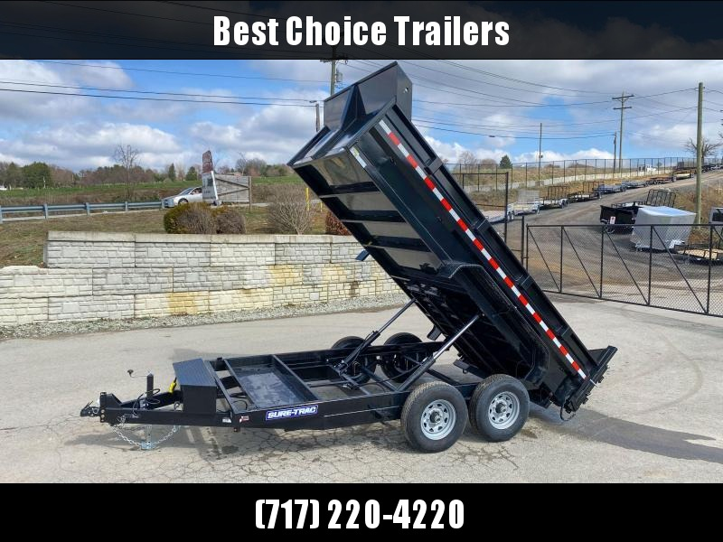 2020 Sure-Trac 7x14' Dump Trailer 14000# GVW * DELUXE TARP KIT * DUAL PISTON * FRONT/REAR BULKHEAD * INTEGRATED KEYWAY * 2' SIDES * UNDERBODY TOOL TRAY * ADJUSTABLE COUPLER * 110V CHARGER * UNDERMOUNT RAMPS * COMBO GATE * 7K DROP LEG JACK