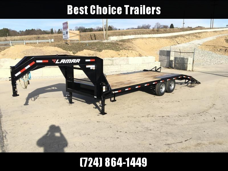 NEW Lamar 102x22' Gooseneck Beavertail Deckover Trailer 14000# GVW * STAND UP RAMPS+SPRING ASSIST * CHANNEL C/M+SIDE RAIL * I-BEAM FRAME * DEXTER'S * LED'S * CLEARANCE