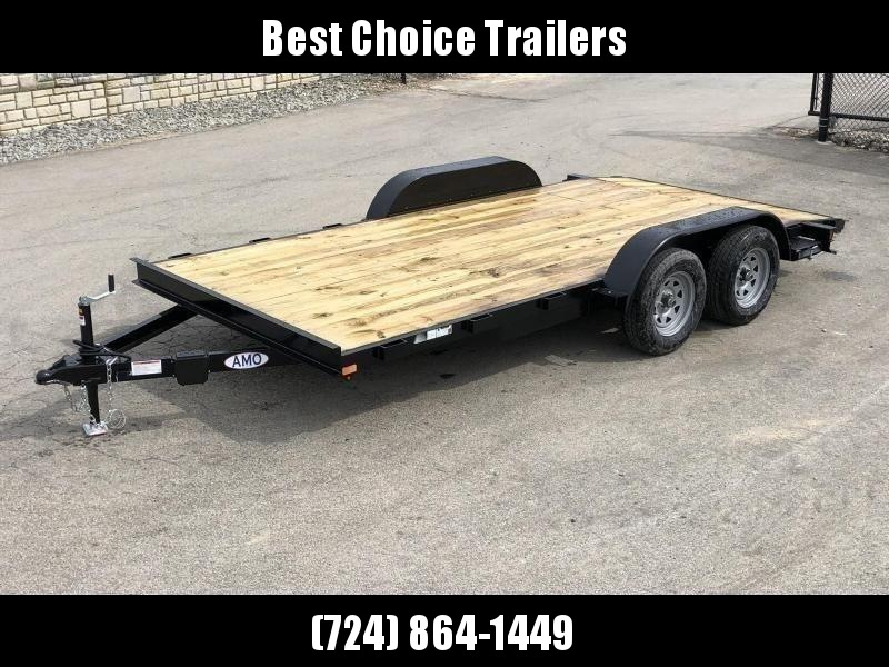 2020 AMO 7x18' Wood Deck Car Trailer 7000# GVW * LED TAIL LIGHTS * STACKED CHANNEL TONGUE/FRAME * BEAVERTAIL * REMOVABLE FENDERS * 2-AXLE BRAKES