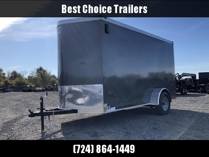 """2019 Wells Cargo 6x10' Road Force Enclosed Cargo Trailer 2990# GVW * CHARCOAL EXTERIOR * RAMP DOOR * V-NOSE * SCREWLESS .030 EXTERIOR * 6'6"""" HEIGHT * TUBE STUDS * 1 PC ROOF * 16"""" O.C. C/M * ARMOR GUARD * RV DOOR * BULLET LED'S * CLEARANCE"""
