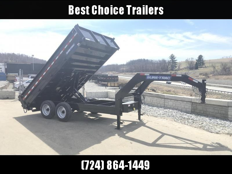 NEW Sure-Trac 8x14' HD Gooseneck Deckover Dump Trailer 16000# GVW * FOLD DOWN SIDES * LONGER RAMPS * HD STACKED FRAME * UNDERBODY TOOL TRAY * CLEARANCE