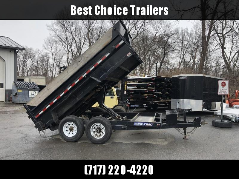 USED 2016 Sure Trac 7x12' Dump Trailer 12000# GVW * TARP KIT * SCISSOR HOIST * SIDE EXTENSIONS