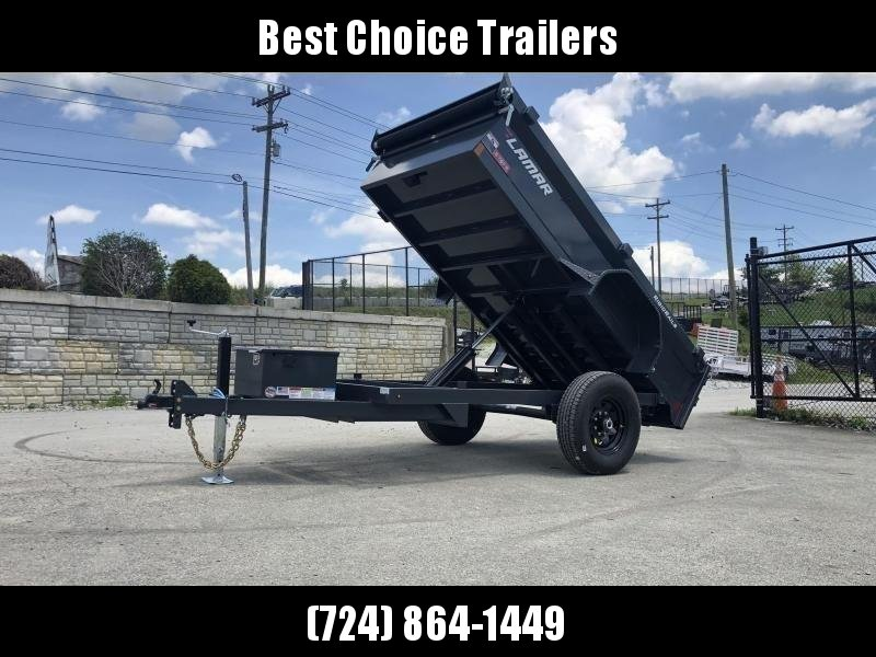 "2020 Lamar 5x10' Single Axle Dump Trailer 7000# GVW * DELUXE TARP * UNDERMOUNT RAMPS * CHARCOAL * ADJUSTABLE COUPLER * DROP LEG JACK * RIGID RAILS * 110V CHARGER * DOUBLE CHANNEL FRAME * 10GA FLOOR * POWER UP/DOWN * 16"" TIRES * 7K AXLES"