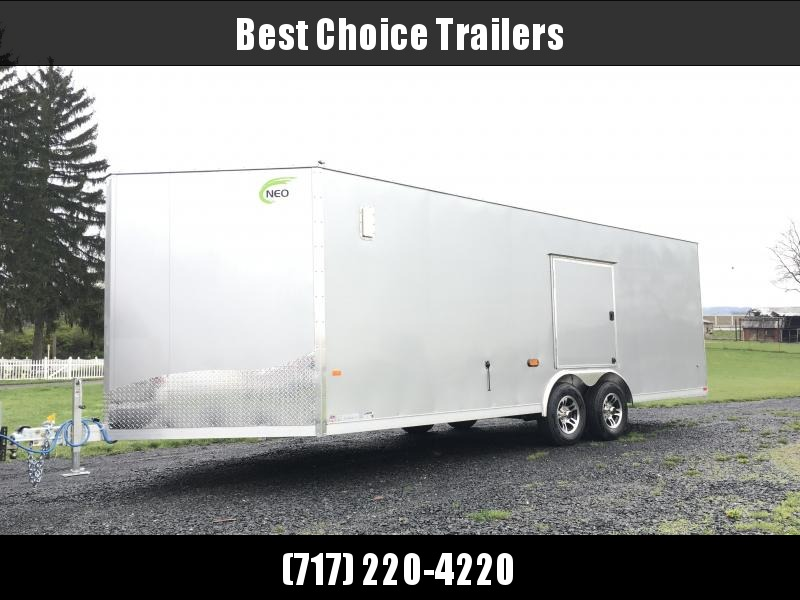 "NEO 8.5x22' NCBR Aluminum Round Top Enclosed Car Hauler Trailer 7000# GVW * NCB2285R6 * ESCAPE DOOR * +6"" HEIGHT * CEILING LINER * 5200# TORSION * ALUMINUM WHEELS"