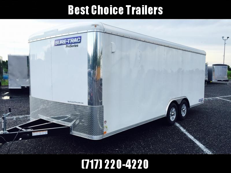 "2019 Sure-Trac 8.5x24' Pro Series Enclosed Car Hauler Trailer 9900# GVW * WHITE EXTERIOR * .030 SCREWLESS EXTERIOR * ROUND TOP * ALUMINUM WHEELS * 1 PC ROOF * 7K DROP JACK * 6"" TUBE FRAME * 48"" RV DOOR * PLYWOOD * 5200# AXLES * TUBE STUDS * CLEARANCE"