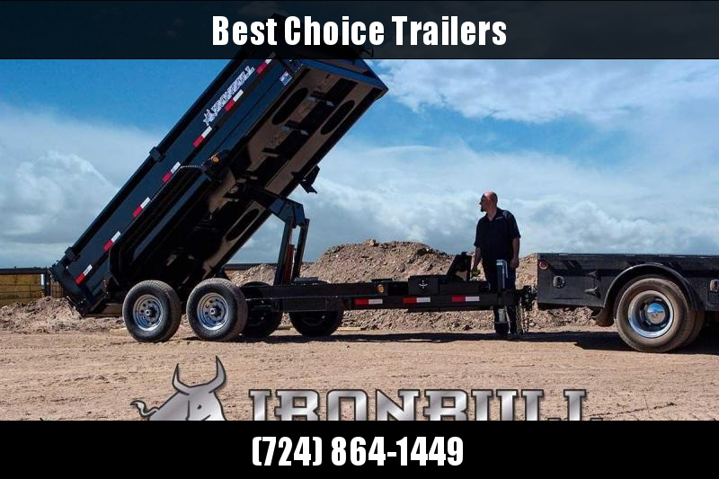 "2019 Ironbull 7x14' Dump Trailer 14000# GVW * TARP KIT * SCISSOR HOIST * STACKED I-BEAM FRAME * 6"" TUBE BEDFRAME * 2PC 10GA BED & WALLS W/ KEYWAY * COMBO GATE * UNDERBODY BED RUNNERS * DEXTER AXLES * 2-3-2 WARRANTY * CLEARANCE"
