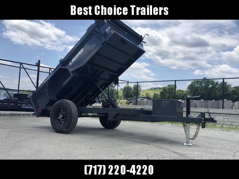 "2020 Lamar 5x10' Single Axle Dump Trailer 7000# GVW * DELUXE TARP * UNDERMOUNT RAMPS * CHARCOAL * ADJUSTABLE COUPLER * DROP LEG JACK * RIGID RAILS * 110V CHARGER * DOUBLE CHANNEL FRAME * 10GA FLOOR * POWER UP/DOWN * 16"" TIRES * 7K AXLES"