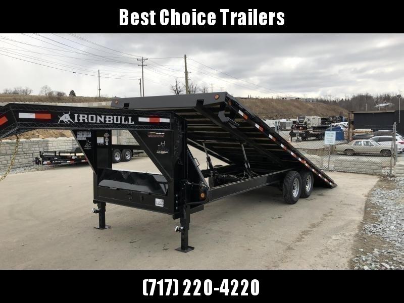 """2020 Ironbull 102x22' Gooseneck Deckover Power Tilt Trailer 14000# GVW * SCISSOR HOIST UPGRADE * I-BEAM FRAME * RUBRAIL/STAKE POCKETS/PIPE SPOOLS/D-RINGS/BANJO EYES * 6"""" TUBE BED FRAME * 4X4X1/4 WALL TUBE BED RUNNERS (12#/') * DUAL 12K JACKS * 2-3-2 WARRA"""