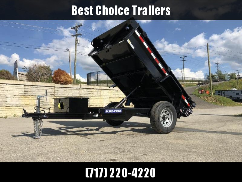 2020 Sure-Trac 5x8' Single Axle Dump Trailer 5000# GVW * BARN DOORS * INTEGRATED KEYWAY * SPARE TIRE MOUNT * TARP PREP * D-RINGS * DIAMOND PLATE FENDERS * POWER UP/POWER DOWN * TRIPLE TUBE TONGUE * BULLET LED'S * RADIALS * POWDERCOATED * SEALED HARNESS