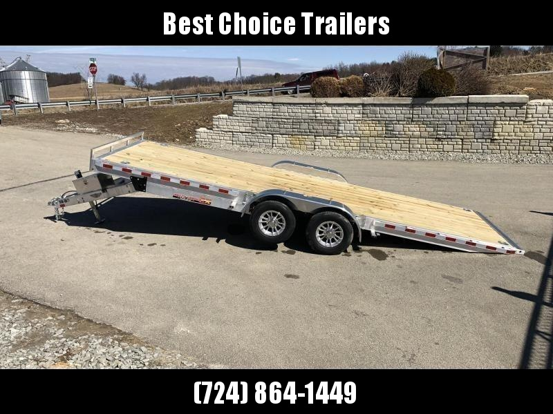 "2020 H&H 7x20' Aluminum Power Tilt Car Hauler Trailer 9990# GVW * POWER TILT * TORSION * 4 SWIVEL D-RINGS * 4 EXTRA STAKE POCKETS * ALUMINUM TOOLBOX * 8"" CHANNEL FRAME * REMOVABLE FENDERS * ALUMINUM WHEELS * DROP JACK * INTEGRATED TAIL LIGHTS"