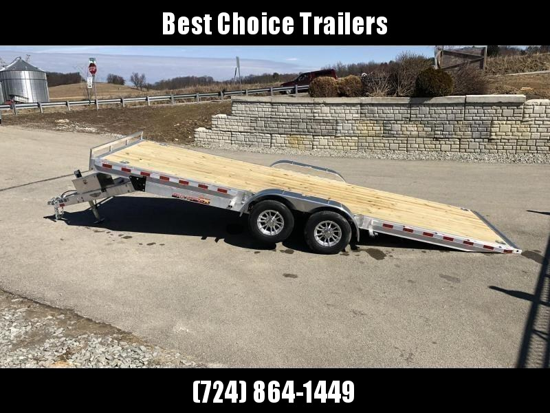 "2020 H&H 7x22' Aluminum Power Tilt Car Hauler Trailer 9990# GVW * POWER TILT * TORSION * 4 SWIVEL D-RINGS * 4 EXTRA STAKE POCKETS * ALUMINUM TOOLBOX * 8"" CHANNEL FRAME * REMOVABLE FENDERS * ALUMINUM WHEELS * DROP JACK * INTEGRATED TAIL LIGHTS"