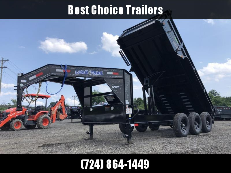 "2019 Load Trail 7x16' Gooseneck Dump Trailer 21000# GVW * DUAL 12K JACKS * OVERSIZE 6X21"" SCISSOR HOIST * 3-WAY GATE * 8"" I-BEAM FRAME * TARP KIT * 6"" TUBE BED FRAME * 110V CHARGER * 10GA 2PC SIDES/FLOOR * INTEGRATED KEYWAY * POWDER PRIMER * CLEARANCE"