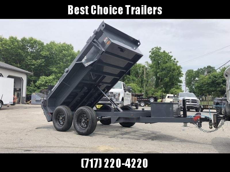 2020 Lamar 5x10' Tandem Axle DS60 Dump Trailer 7000# GVW * SPARE MOUNT * RAMPS * CHARCOAL W/ BLACK WHEELS * RIGID RAIL * ADJUSTABLE COUPLER * 7K JACK * 110V CHARGER