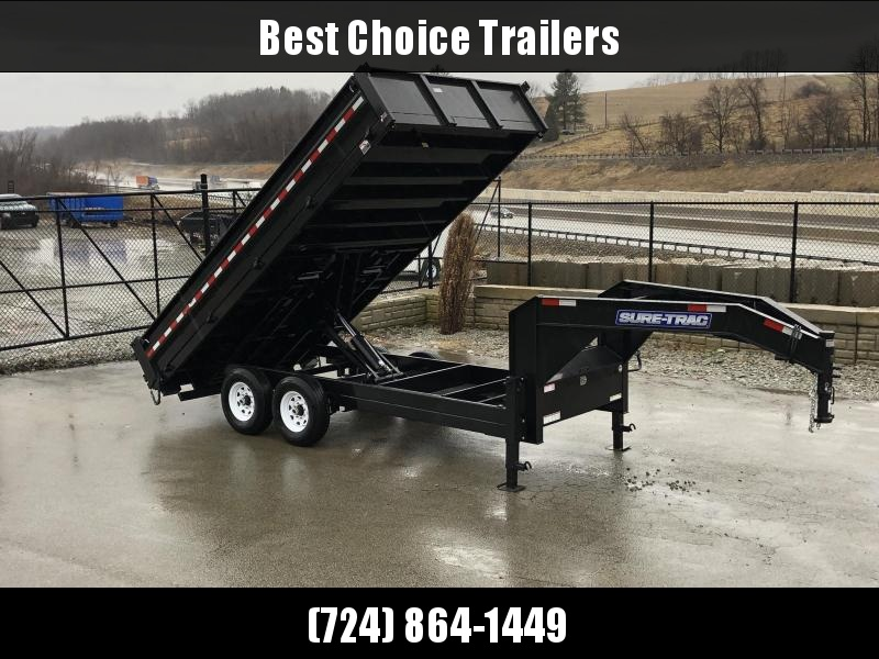 "2019 Sure-Trac 8x16' Gooseneck Deckover Dump Trailer 14000# GVW * DUAL 12K JACKS * FULL FRONT TOOLBOX * I-BEAM NECK * 20"" FOLD DOWN SIDES * EXTENDED 90"" UNDERMOUNT RAMPS * OVERSIZE 8"" TUBE TONGUE/6"" HEAVY WALL FRAME * 6"" SCISSOR HOIST * CLEARANCE"