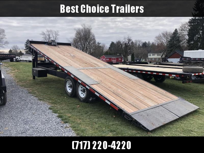 USED 2016 B-Wise 102x24' Gooseneck Deckover Power Tilt Trailer * HYDRAULIC JACKS * 12K WINCH * TORSION * WIRELESS * 14-PLY RUBBER AND SPARE
